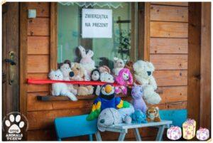 Zdjęcie z akcji schroniska dla zwierząt w tczewie przedstawiajacej pluszaki oferowane na prezenty zamiast zwierzat - 1% podatku dla zwierząt!